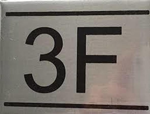 APARTMENT NUMBER SIGN -3F -BRUSHED Aluminum