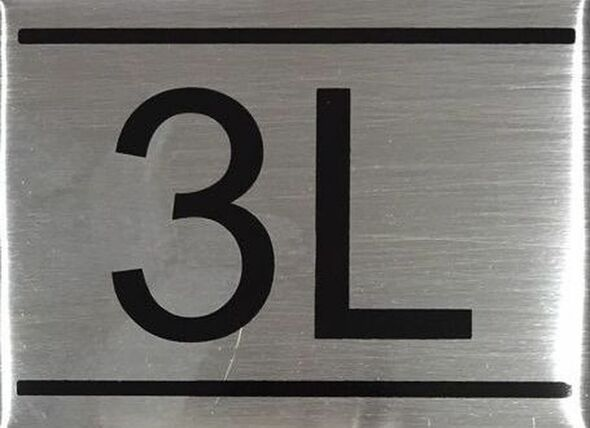 SIGNS APARTMENT NUMBER SIGN -3L -BRUSHED ALUMINUM
