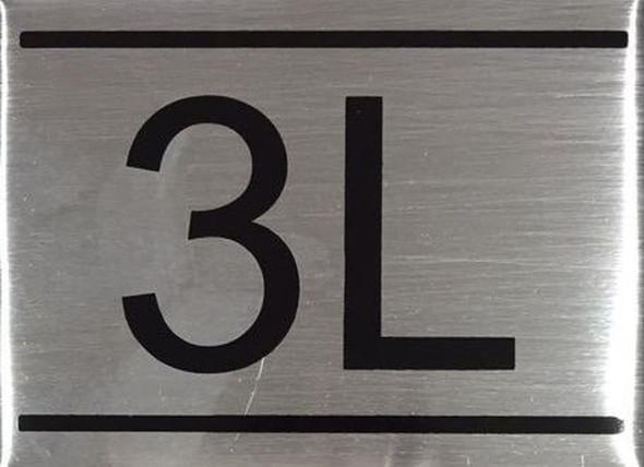 APARTMENT NUMBER SIGN -3L -BRUSHED ALUMINUM