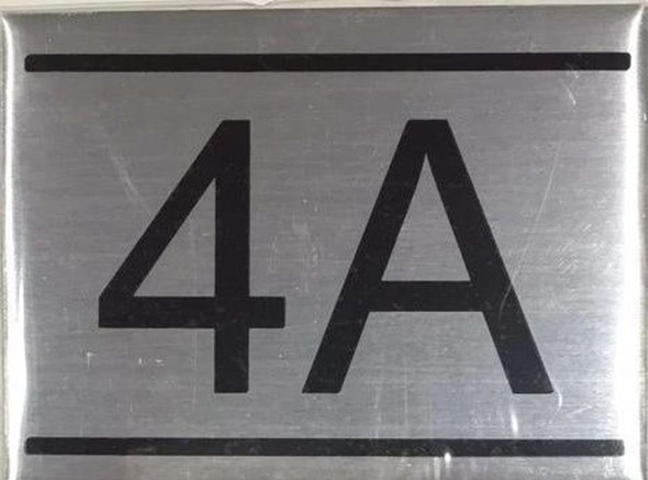 SIGNS APARTMENT NUMBER SIGN -4A -BRUSHED ALUMINUM