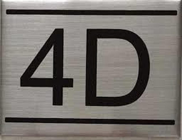 SIGNS APARTMENT NUMBER SIGN -4D -BRUSHED ALUMINUM