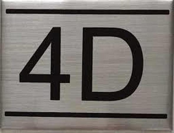 APARTMENT NUMBER SIGN -4D -BRUSHED ALUMINUM