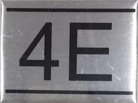 APARTMENT NUMBER SIGN -4E -BRUSHED ALUMINUM