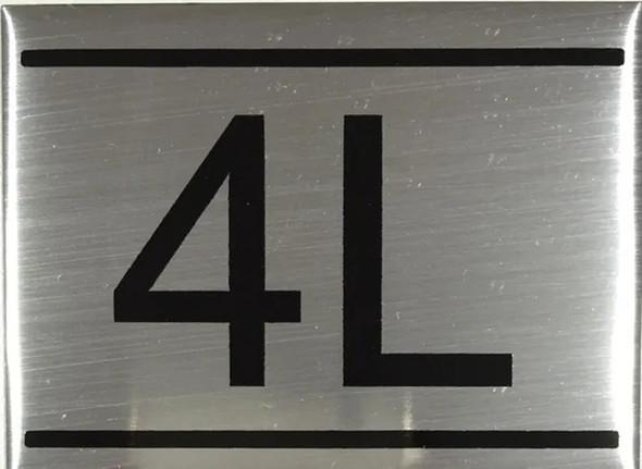 APARTMENT NUMBER SIGN -4L -BRUSHED ALUMINUM