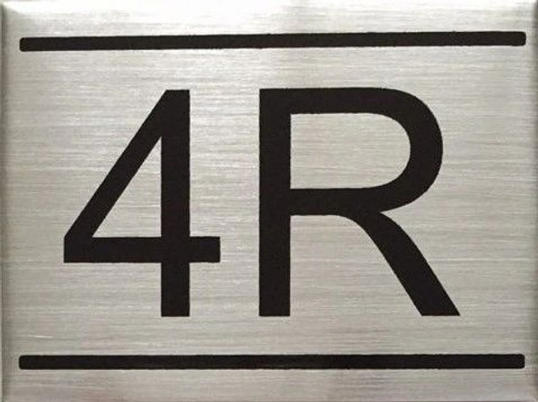 SIGNS APARTMENT NUMBER SIGN -4R -BRUSHED ALUMINUM