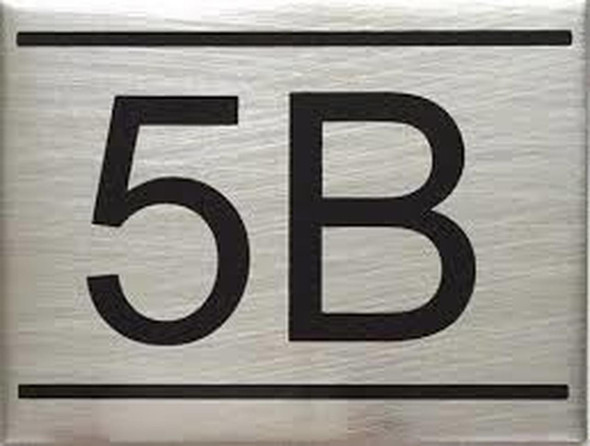 SIGNS APARTMENT NUMBER SIGN -5B -BRUSHED ALUMINUM