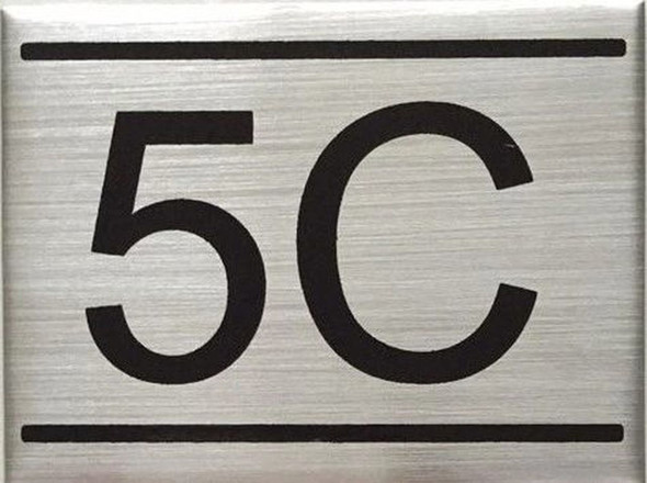 SIGNS APARTMENT NUMBER SIGN -5C -BRUSHED ALUMINUM