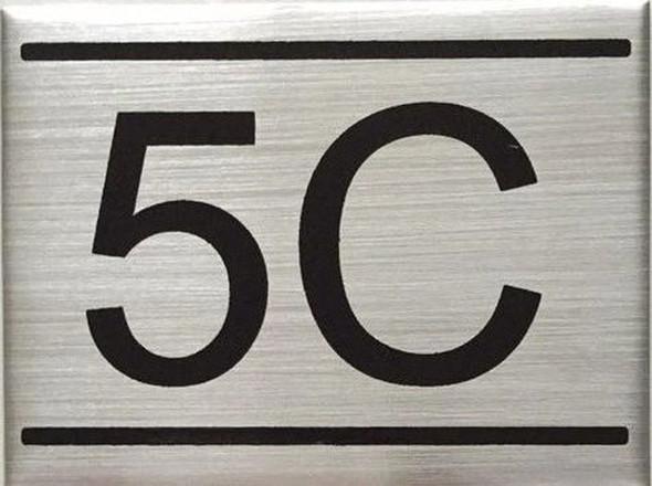 APARTMENT NUMBER SIGN -5C -BRUSHED ALUMINUM