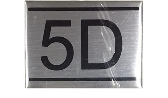 APARTMENT NUMBER SIGN -5D -BRUSHED ALUMINUM