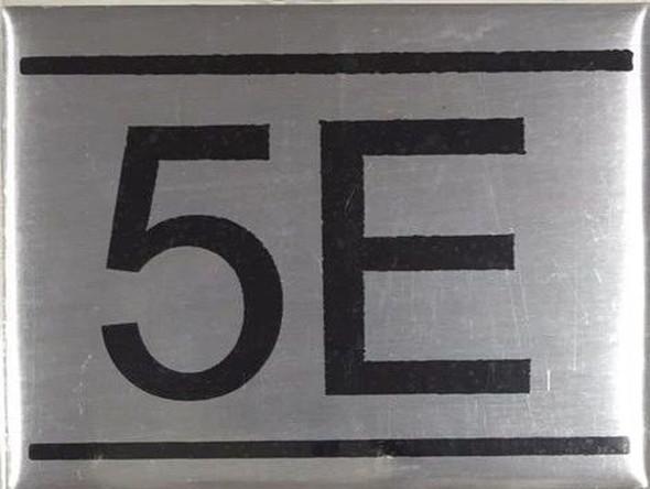 APARTMENT NUMBER SIGN -5E -BRUSHED ALUMINUM