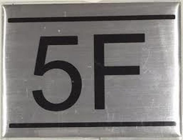 APARTMENT NUMBER SIGN -5F -BRUSHED ALUMINUM