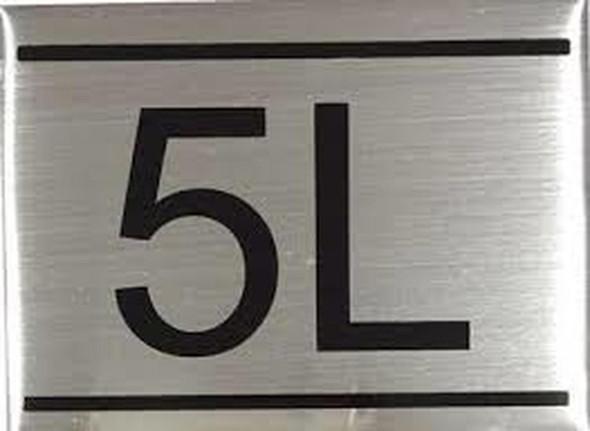 SIGNS APARTMENT NUMBER SIGN -5L -BRUSHED ALUMINUM