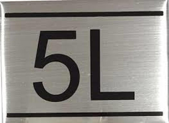 APARTMENT NUMBER SIGN -5L -BRUSHED ALUMINUM