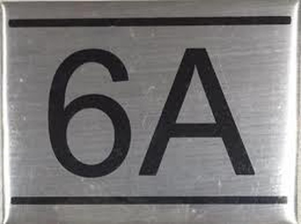 SIGNS APARTMENT NUMBER SIGN -6A -BRUSHED ALUMINUM