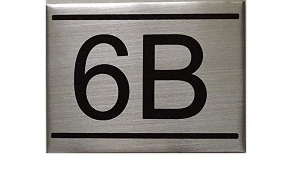 SIGNS APARTMENT NUMBER SIGN -6B -BRUSHED ALUMINUM