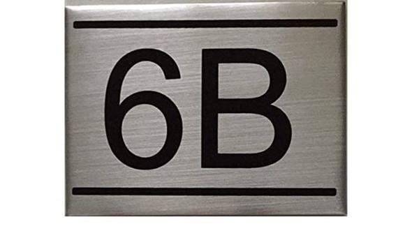 APARTMENT NUMBER SIGN -6B -BRUSHED ALUMINUM