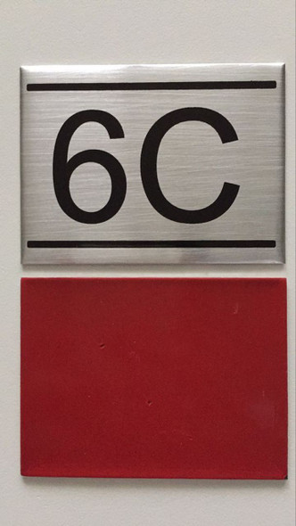 SIGNS APARTMENT NUMBER SIGN -6C -BRUSHED ALUMINUM
