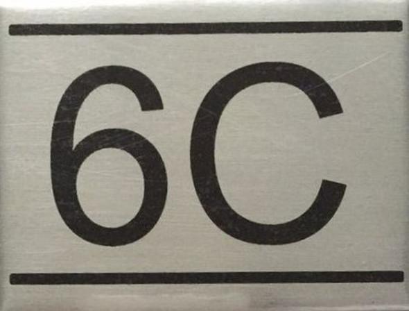 APARTMENT NUMBER SIGN -6C -BRUSHED ALUMINUM