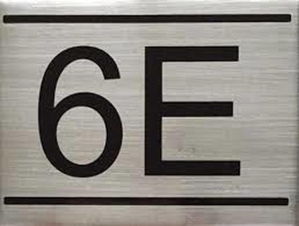 APARTMENT NUMBER SIGN -6E -BRUSHED ALUMINUM