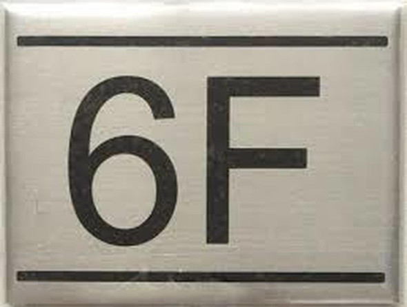 SIGNS APARTMENT NUMBER SIGN -6F -BRUSHED ALUMINUM