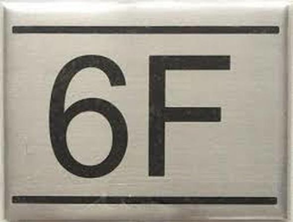 APARTMENT NUMBER SIGN -6F -BRUSHED ALUMINUM