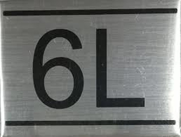 APARTMENT NUMBER SIGN -6L -BRUSHED ALUMINUM