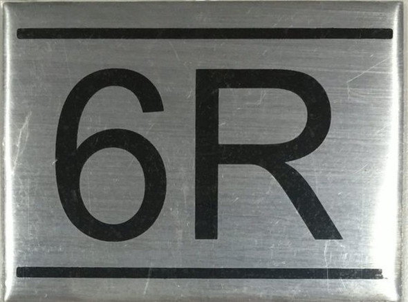APARTMENT NUMBER SIGN -6R -BRUSHED ALUMINUM
