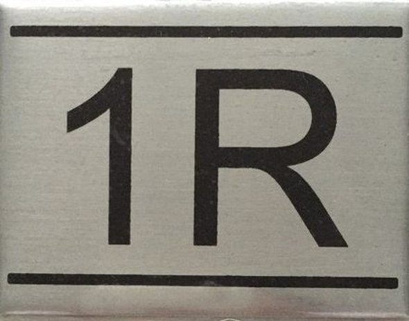 APARTMENT NUMBER SIGN -1R -BRUSHED ALUMINUM