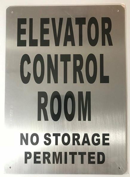 SIGNS ELEVATOR CONTROL ROOM SIGN (Brush Aluminium,