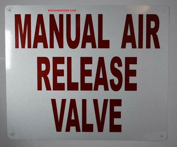 Manual AIR Release Valve Sign (White,Aluminum