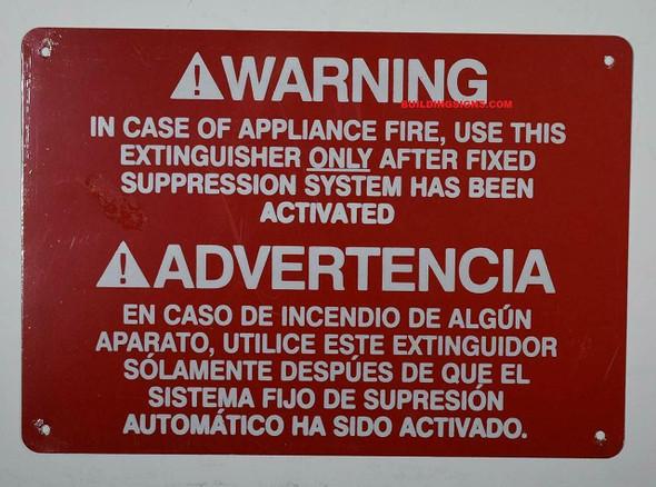 Warning in CASE of Appliance FIRE,
