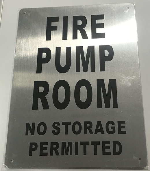 SIGNS FIRE Pump Room Sign (Brushed Aluminium,