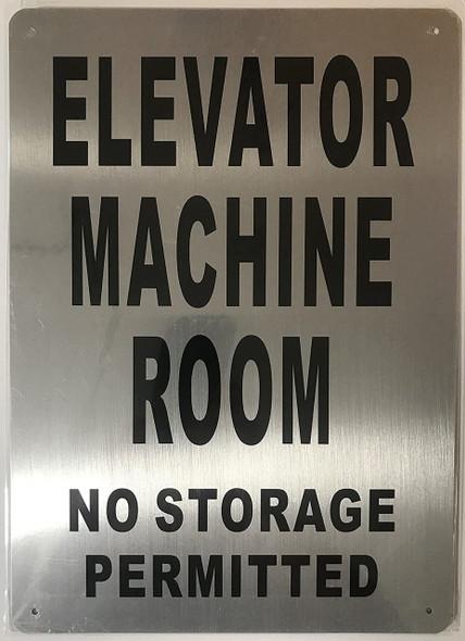 Elevator Machine Room Sign (Brushed Aluminium,