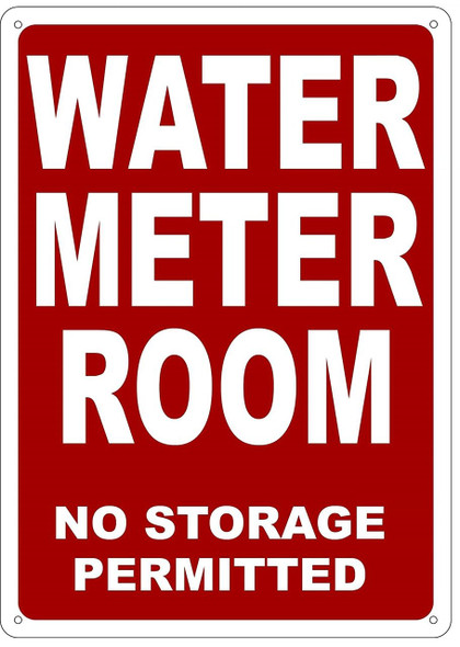 WATER METER ROOM SIGN (Red, Reflective