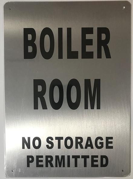 SIGNS Boiler Room Sign (Brushed Aluminium, 10x14)