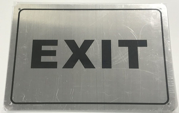 SIGNS EXIT Sign (Brushed Aluminium, 7x10) Potere