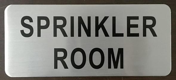 SPRINKLER ROOM SIGN (BRUSH ALUMINIUM, 3.5X8)-The
