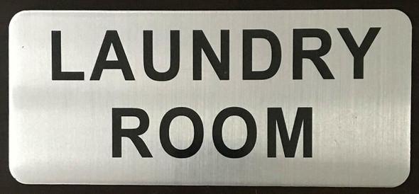 SIGNS LAUNDRY ROOM SIGN (BRUSH ALUMINIUM, 3.5X8