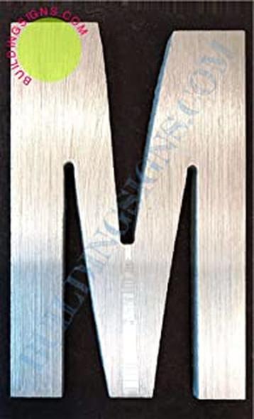 Aluminum Letter M Sign (Brush Silver,Double