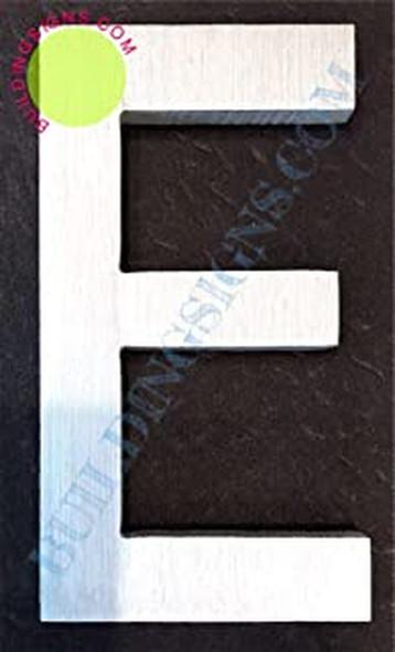 Aluminum Letter E Sign (Brush Silver,Double