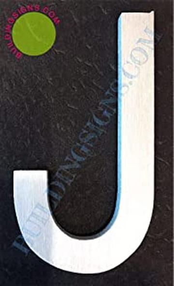 Aluminum Letter J Sign (Brush Silver,Double