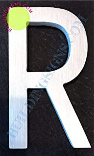 SIGNS Aluminum Letter R Sign (Brush Silver,Double
