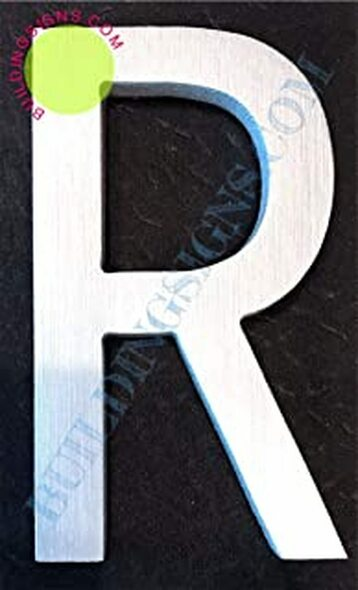 Aluminum Letter R Sign (Brush Silver,Double