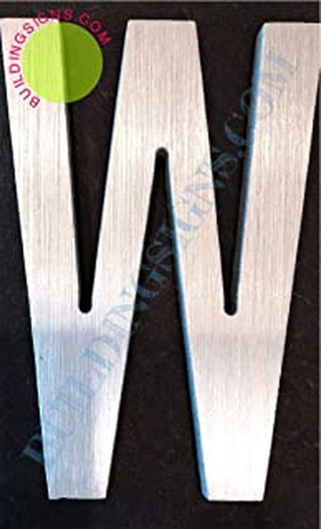 Aluminum Letter W Sign (Brush Silver,Double