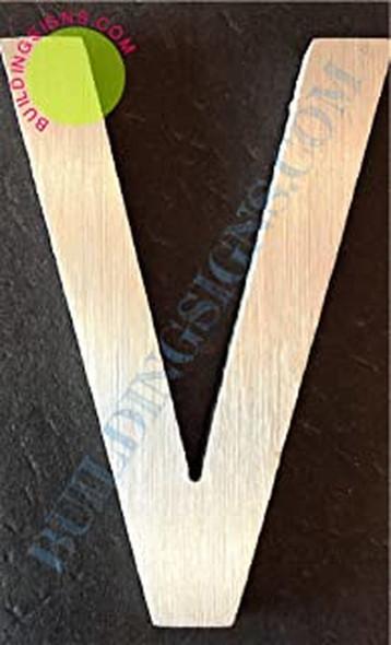 Aluminum Letter V Sign (Brush Silver,Double