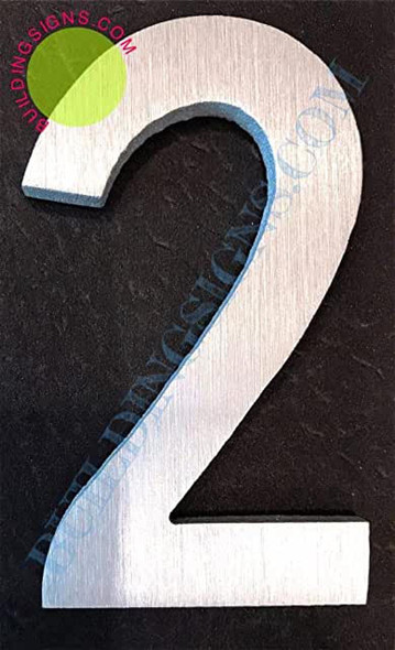 SIGNS Aluminum Number 2 Sign (Brush Silver,Double