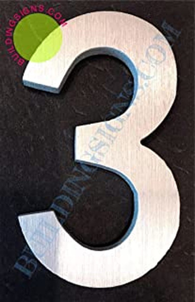 SIGNS Aluminum Number 3 Sign (Brush Silver,Double
