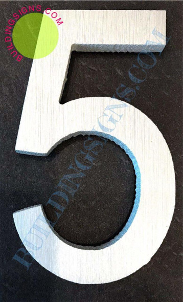 Aluminum Number 5 Sign (Brush Silver,Double