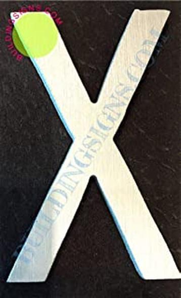 Aluminum Letter X Sign (Brush Silver,Double