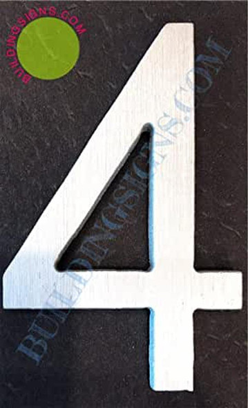 Aluminum Number 4 Sign (Brush Silver,Double